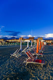 Viareggio's sandy beach, Stock Image