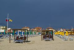 Viareggio's sandy beach Royalty Free Stock Photos