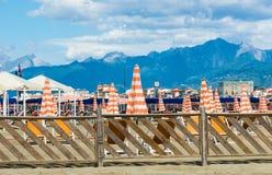 Viareggio sand beaches panorama,Tuscany, Italy. Stock Image