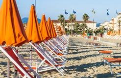 Viareggio sand beaches panorama,Tuscany, Italy. Royalty Free Stock Images
