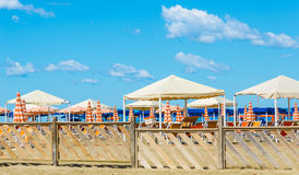 Viareggio sand beaches, Versilia, Tuscany, Italy Royalty Free Stock Image
