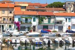 Viareggio sikt av gammal port och hus Royaltyfri Foto