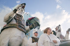 Viareggio ståtar först av karnevalet, Italien Arkivfoton