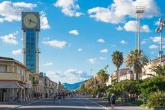 Viareggio, Tuscany, Italy. VIAREGGIO, ITALY-8 SEPT. 2014:Viareggio panorama of the promenade known as 'passeggiata a mare', famouse for parade held yearly ' stock images