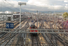 Vias train station. In the city of Geneva in Switzerland on a cloudy day Stock Image