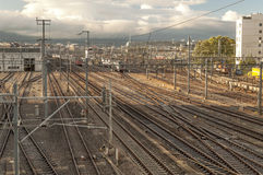 Vias train station. In the city of Geneva in Switzerland on a cloudy day Stock Photos