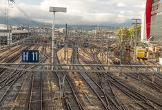 Vias train station. In the city of Geneva in Switzerland on a cloudy day Stock Photography