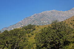 Viashno Devi Trikuta mountain from Heliport. Landscape of Vaishno Devi mountain a place of holy pilgrimage for Hinu's the Trikuta peaks from the heliport at royalty free stock photo