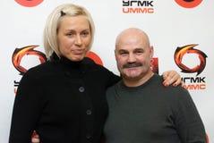 Viatcheslav Ianovski e pugile Natascha Rogozina fotografia stock libera da diritti