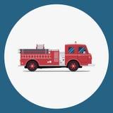 A viatura de incêndio, Firetruck, vector a ilustração lisa Fotografia de Stock Royalty Free