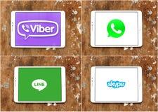 Viber de los usos del mensajero, whatsapp, línea, Skype Foto de archivo