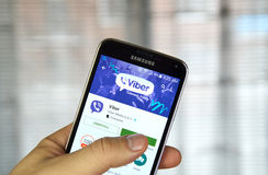 Viber mobile app on a cell phone. Royalty Free Stock Images