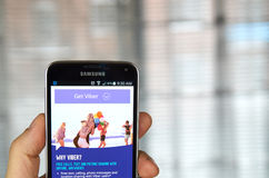 Viber mobile app on a cell phone. Royalty Free Stock Image