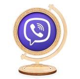 Viber okręgu ikona umieszczająca w drewnianą kulę ziemską Zdjęcie Stock