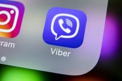 Viber podaniowa ikona na Jabłczanego iPhone X smartphone parawanowym zakończeniu Viber app ikona Ogólnospołeczna medialna ikona 3 Obraz Royalty Free