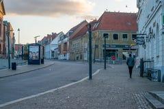 VIBORG, DÄNEMARK - 18. SEPTEMBER 2016: Sonnenaufgang in Viborg Lizenzfreie Stockbilder