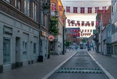 VIBORG, DÄNEMARK - 18. SEPTEMBER 2016: Sonnenaufgang in Viborg Lizenzfreies Stockfoto