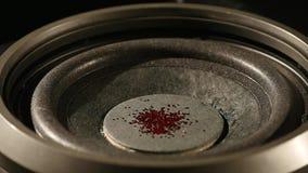 Vibrações audio do orador do Subwoofer com brilho vermelho filme