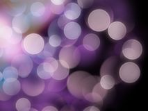 Vibrant purple and white glowing blurred lights on a black abstract background stock photos