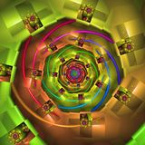 Vibrant Abstract Spiral. Vibrant Rainbow Coloured Abstract Fractal Spiral Royalty Free Stock Photography