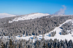 Vibrant aerial panorama of the slope at ski resort, people skiing, snow trees, blue sky Royalty Free Stock Image