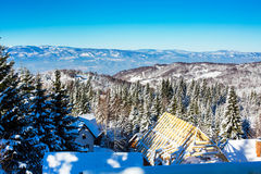 Vibrant aerial winter mountain panorama, snow trees, blue sky. Vibrant aerial winter mountain panorama landscape with snowy pine trees, blue sky Stock Photo