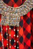 Vibrant African ethnic necklaces. Vibrant colorful handmade typical folk African ethnic necklaces stock images