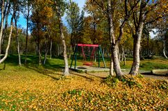 Vibrant autumn forest with playground swing set Royalty Free Stock Photo