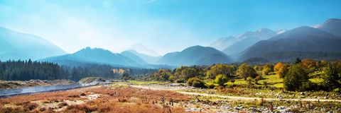 Vibrant autumn panorama background with colorful Royalty Free Stock Photography
