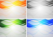 Vibrant backdrops. Set of abstract backgrounds with smoky waves Royalty Free Stock Photography