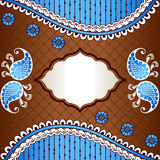 Vibrant banner inspired by Indian mehndi designs. Banner in vibrant blue, white, and brown; inspired by Indian henna tattoos. Graphics are grouped and in several Stock Photos