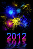 Vibrant beautiful firework, 2012. Vibrant beautiful firework on the holiday day, new 2012 year Stock Photo