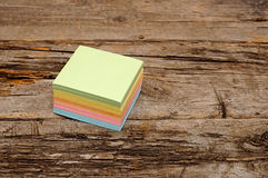 Vibrant block of colorful post it notes Stock Photos