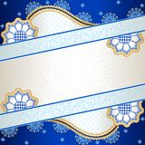 Vibrant blue banner inspired by Indian mehndi. Banner in vibrant blue, orange, and gold; inspired by Indian henna tattoos. Graphics are grouped and in several Royalty Free Stock Photography