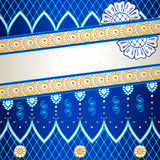 Vibrant blue banner inspired by Indian mehndi. Banner in vibrant blue, orange, and gold; inspired by Indian henna tattoos. Graphics are grouped and in several Stock Photo
