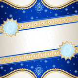 Vibrant blue banner inspired by Indian mehndi. Banner in vibrant blue, orange, and gold; inspired by Indian henna tattoos. Graphics are grouped and in several Stock Photos