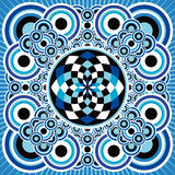 Vibrant blue design. A vibrant design of blue overlapping circles with central feature Stock Photos