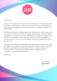 Vibrant blue and pink letterhead template. Design Stock Photography