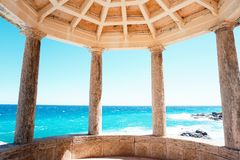 Ancien temple with greece colum by the mediterranean sea Stock Photo