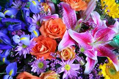 Vibrant bouquet of flowers. Colorful,vibrant bouquet of flowers; asiatic lilies,roses,irises,daisies,sunflowers Stock Photos