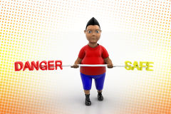 Vibrant Boy Lifting Danger And Safe In Halftone Royalty Free Stock Image