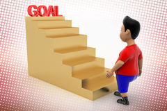Vibrant  Boy Walking Up Goal Stairs In Halftone Stock Images