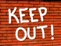 Vibrant brick wall Keep Out wallpaper. An illustration of a brick wall in vibrant colors with Keep out spray painted on it for use in website wallpaper design royalty free illustration