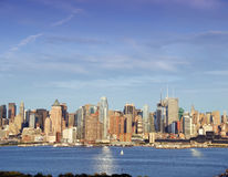 Vibrant capture of new york midtown over hudson Royalty Free Stock Photo