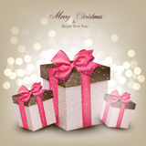 Vibrant christmas background with gift boxes. Stock Photography