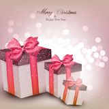 Vibrant christmas background with gift boxes. Royalty Free Stock Photo