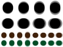 Vibrant circle, vibrating black brown green circle. Horizontal and vertical vibration of figure, round template with vibration effect on white background Stock Images