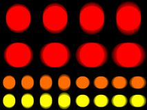 Vibrant circle, vibrating red orange yellow circle. Horizontal and vertical vibration of figure, round template with vibration effect on black background Royalty Free Stock Photo
