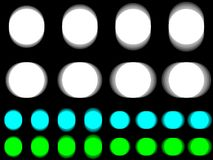 Vibrant circle, vibrating white cyan green circle. Horizontal and vertical vibration of figure, round template with vibration effect on black background Royalty Free Stock Images