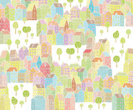 Vibrant City Illustration. With colourful houses, empty space and trees. Illustration is in eps8  mode Stock Images
